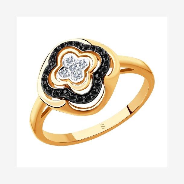 Guldring med sorte og klare diamanter