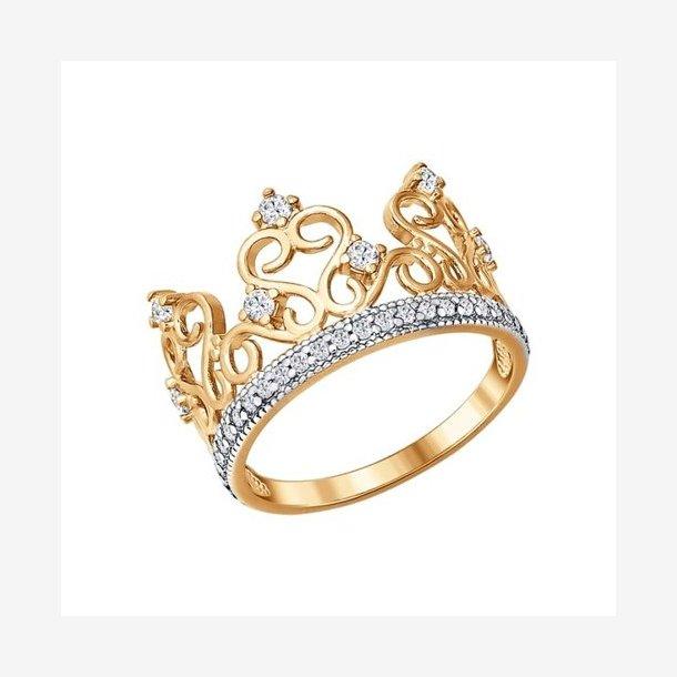 Krone ring i 14 karat guld med kubiske zirconia
